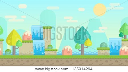 Seamless parallax effect ready fantasy mountain background for mobile apps and design. Sunny bright landscape with mountains, waterfalls, bodies of water, trees and rocks.
