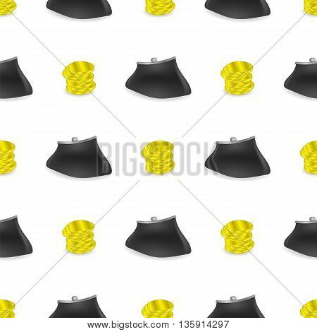 Yellow Coins Pattern. Money Wallet Seamless Background.