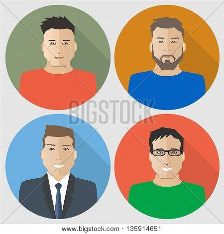 Flat men icons. Four different images of men. Can be used for the websites, blogs and forums