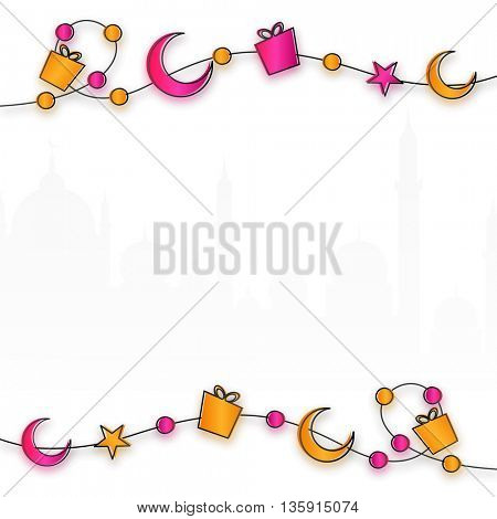 Beautiful decorative background with glossy gifts, crescent moons, stars and mosque silhouette, Can be used as Greeting Card or Invitation Card design for Muslim Community Festivals celebration.
