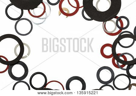 Round rubber gaskets for sanitary fittings and water supply with copy space