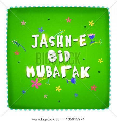 White Text Jashn-E-Eid Mubarak on flowers decorated shiny green background, Can be used as Poster, Banner or Flyer design for Muslim Community Festival celebration.