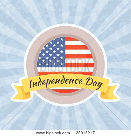 Emblem for Independence Day and Fourth of July. Emblem with Flag of United States.