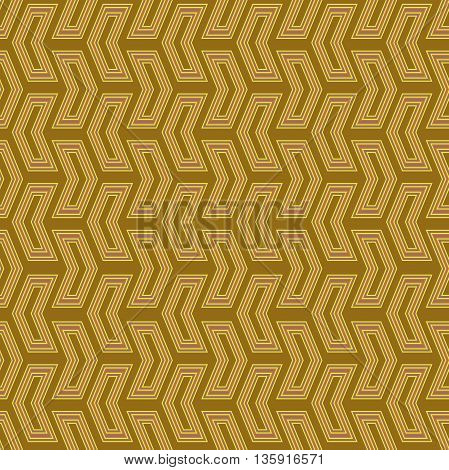 Geometric vector pattern with triangles. Seamless abstract background. Golden pattern