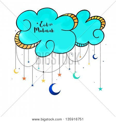 Elegant Greeting Card design decorated with crescent moons and stars hanging by clouds for Islamic Holy Festival, Eid Mubarak celebration.
