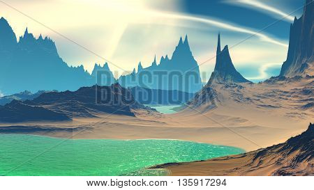 Fantasy Alien Planet. Rocks And Lake. 3D Illustration