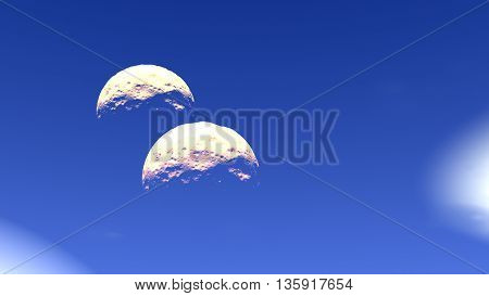 Clouds a moon and space. 3D illustration