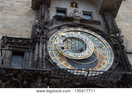 a astronomical clock on Prague square. clock