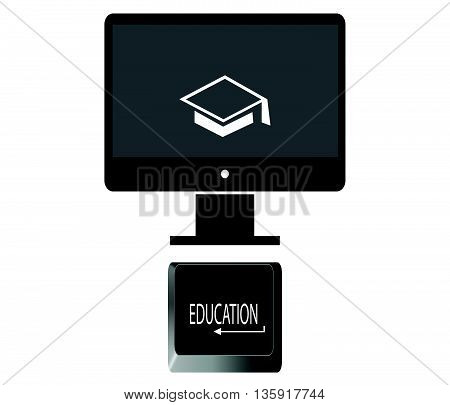 E-learning icon.Education icons vector.Internet education icon.Education Internet key.Education and online learning.