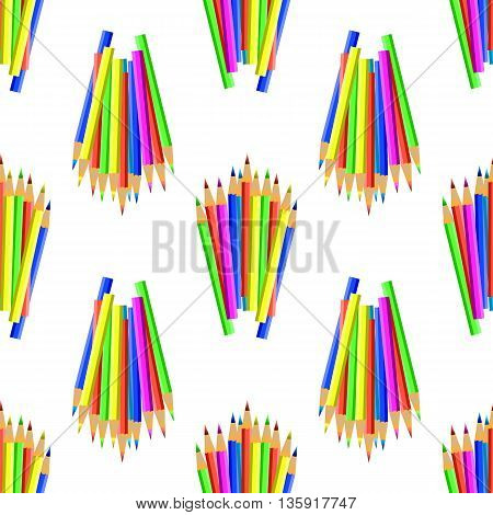 Colorful Pencils Isolated on White Background. Colored Pencils Seamles Pattern