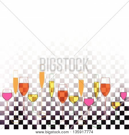 Cocktail party poster. Glasses Vector.Cocktail party transperent.Silhouettes of different goblet.Colorful glasses wine.Template with glasses bottles.Cocktail party vector.