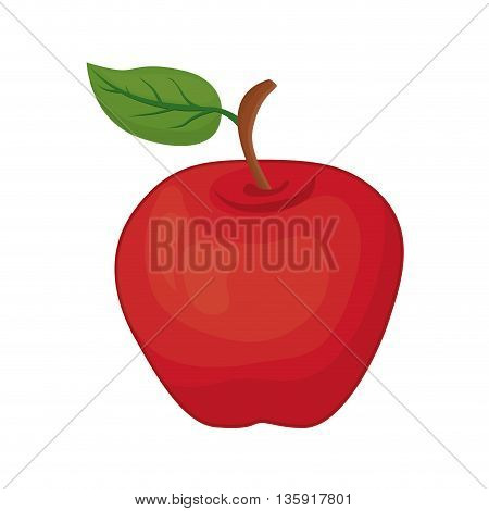 Organic and Healthy food concept represented by apple fruit icon. isolated and flat illustration
