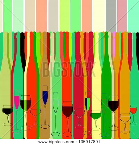 Vector Illustration of Silhouette Alcohol Bottle Background.Wine card background alcohol drink glass. Wine Bottles and Glasses.Design for cocktail party
