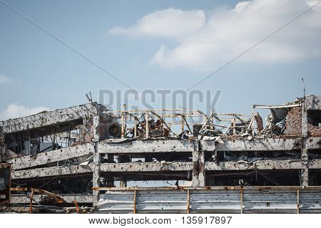 View of donetsk airport ruins after massive artillery shelling