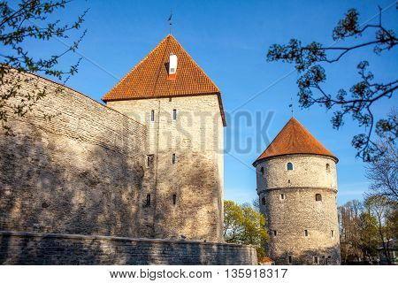 towers and wall  of Old Town Tallinn,  Estonia