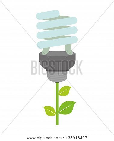 Save Energy concept represented by light bulb and leaf  icon. isolated and flat illustration