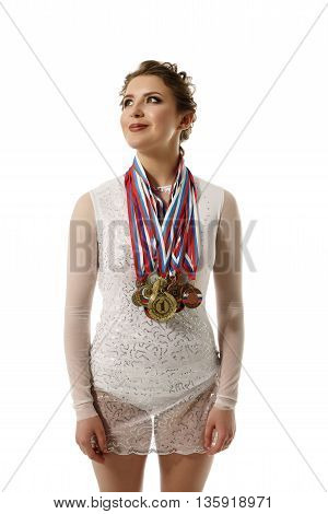 Charming rhythmic gymnast with medals, isolated on white