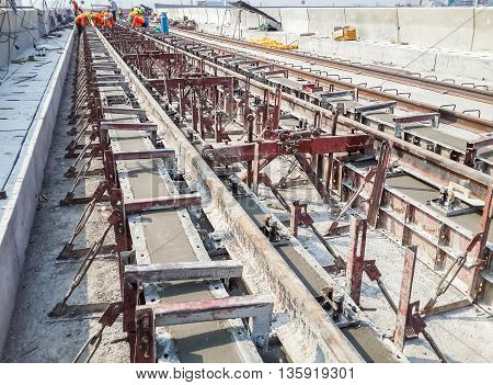 Construction work on site of railway concrete track