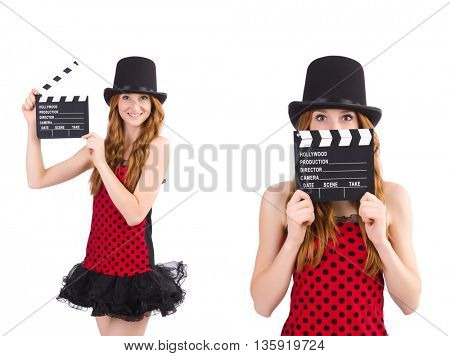 Pretty girl in red polka dot dress with movie board  isolated on