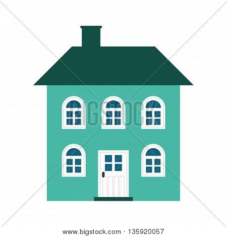 Family home concept represented by house with window icon. isolated and flat illustration