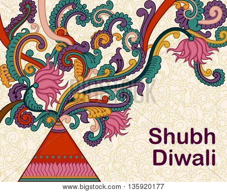Vector design of Diwali decorated firecracker in Indian art style wishing Shubh Deepawali Happy Diwali