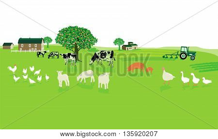 friendly agriculture with farm, natural, organic, green,