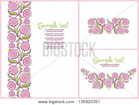 cards with floral pattern. vertical seamless floral pattern.