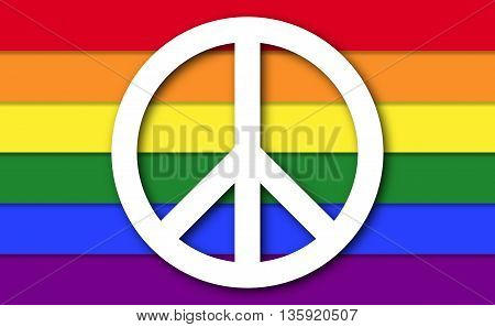 Peace symbol on LGBT rainbow flag. White peace symbol with shapes on gay pride flag consisting of six stripes with shapes. Illustration.