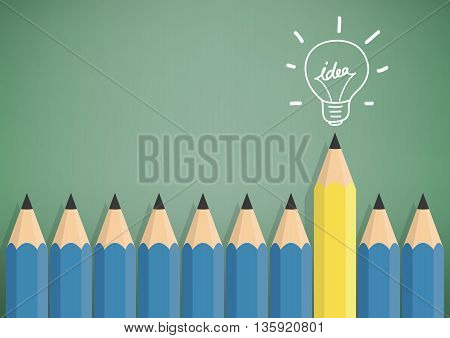 Illustration vector yellow pencil stand out from the blue pencil with creativity and idea. Symbols with light bulb on top.