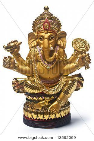 Golden Hindu God Ganesh, Clipping Path Included