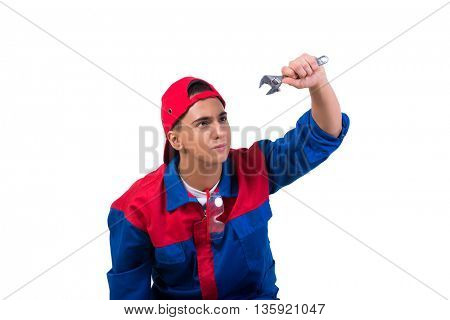 Young repairman with wrench spanner isolated on white