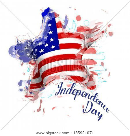 American Flag star shaped for Independence Day design 4th of July. Vector illustration.