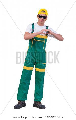 Young repairman isolated on the white background