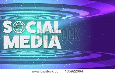 Vector abstract background with transparent circular objects and the words social media