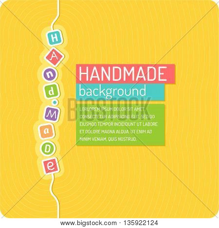 Handmade crafts workshop art fair and festival poster vector line graphics.