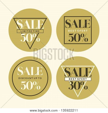 Set of fashion stickers sales and discounts. Fashion trend group of posters with the text.