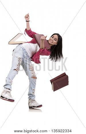 Female young student with books isolated on white