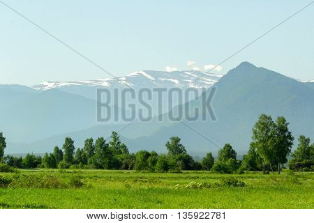 Early foggy summer morning in the Altai Mountains