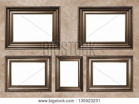 Five antique frames with white copy space - Sepia toned image in retro style