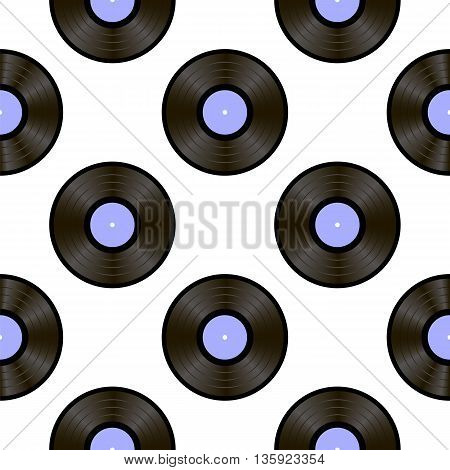 Retro Vynils Isolated on White Background. Sound Disc Seamless Pattern
