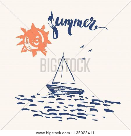 Hand drawn ink summer design in navy blue and orange. Summer print sun ocean sailboat birds and brush lettering.