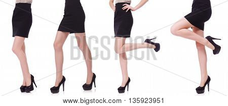 Woman legs isolated on the white