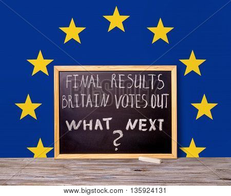 Brexit Uk Eu Referendum Concept For Out Of Great Britain From Rest European Union And Handwriting Te