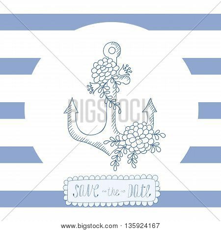 Greeting card invitation with blue stripes with round frame and anchor in the center.