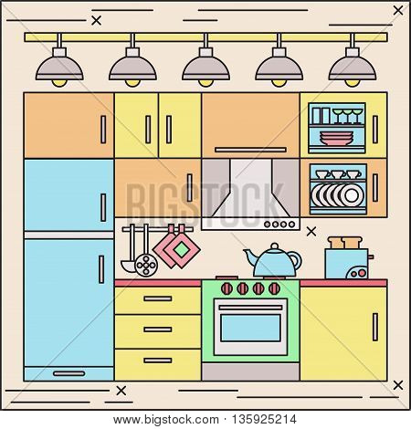 Colorful flat thin line vector kitchen illustration