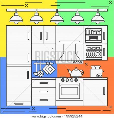 Flat line art kitchen illusatraion room home interior