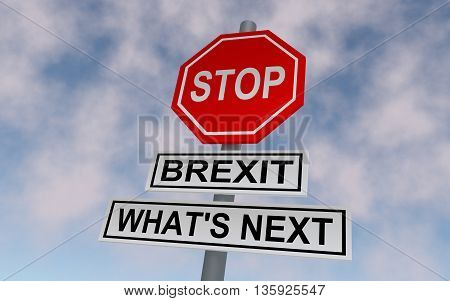 The road sign for Great Britain leaving EU. On the sign write STOP and BREXIT WHATS NEXT. 3D rendering.