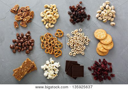 Variety of healthy snacks overhead shot laying on the table