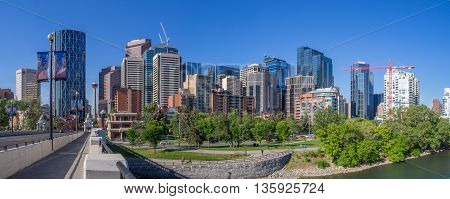 CALGARY, CANADA - JUNE 5: Modern office towers on June 5, 2016 in Calgary, Alberta. Calgary is home to many oil companies.