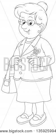 Smiling elderly lady. Black and white vector illustration of a white-headed aged woman friendly smiling